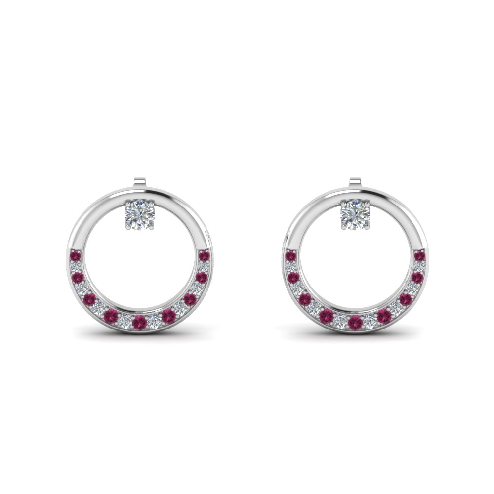 Pink Sapphire Circle Stud Earring