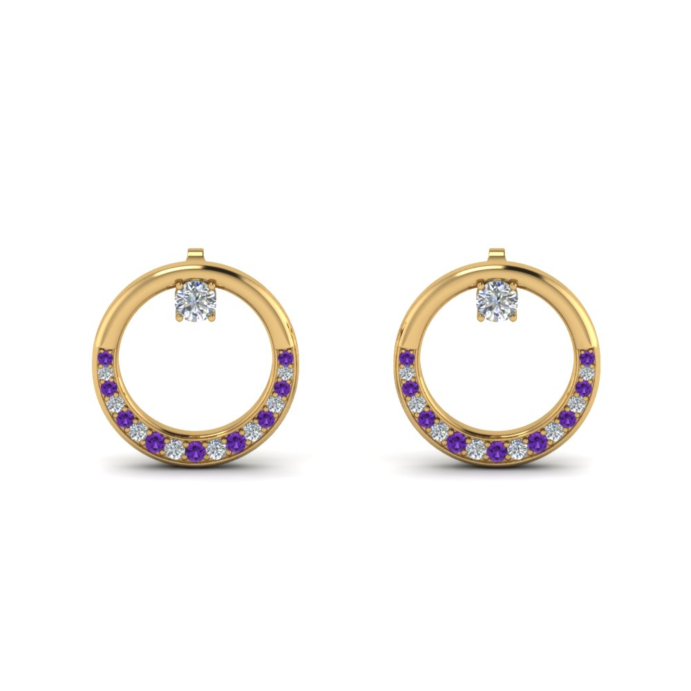 Gold Purple Topaz Circle Stud Earring