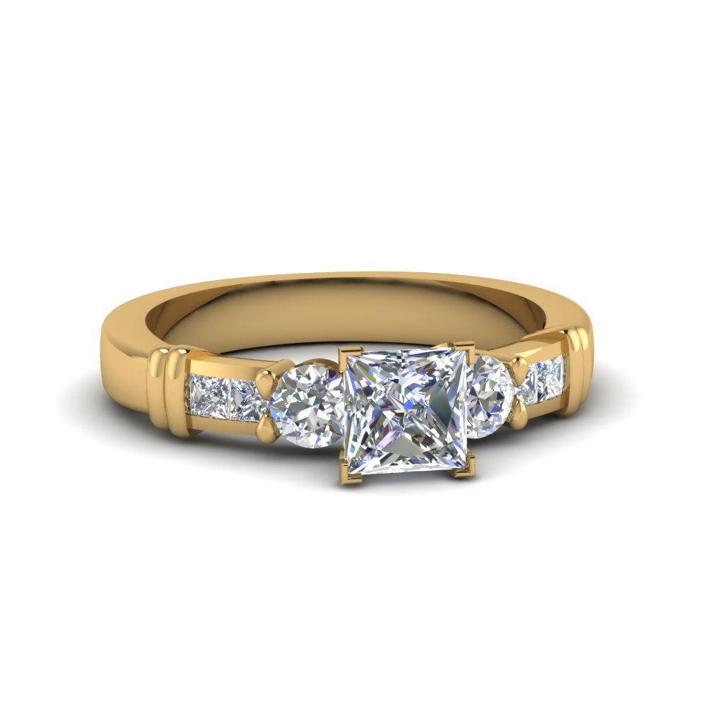 classic 1.25 ct. princess cut bar design diamond engagement ring in FDENS286PRR NL YG