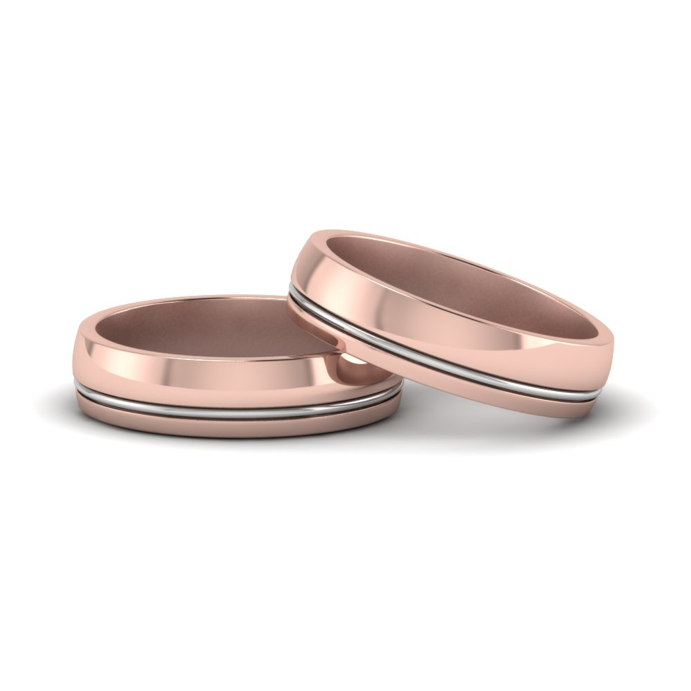 classic 2 tone gay wedding bands in 14K rose gold FDLG51342G NL RG