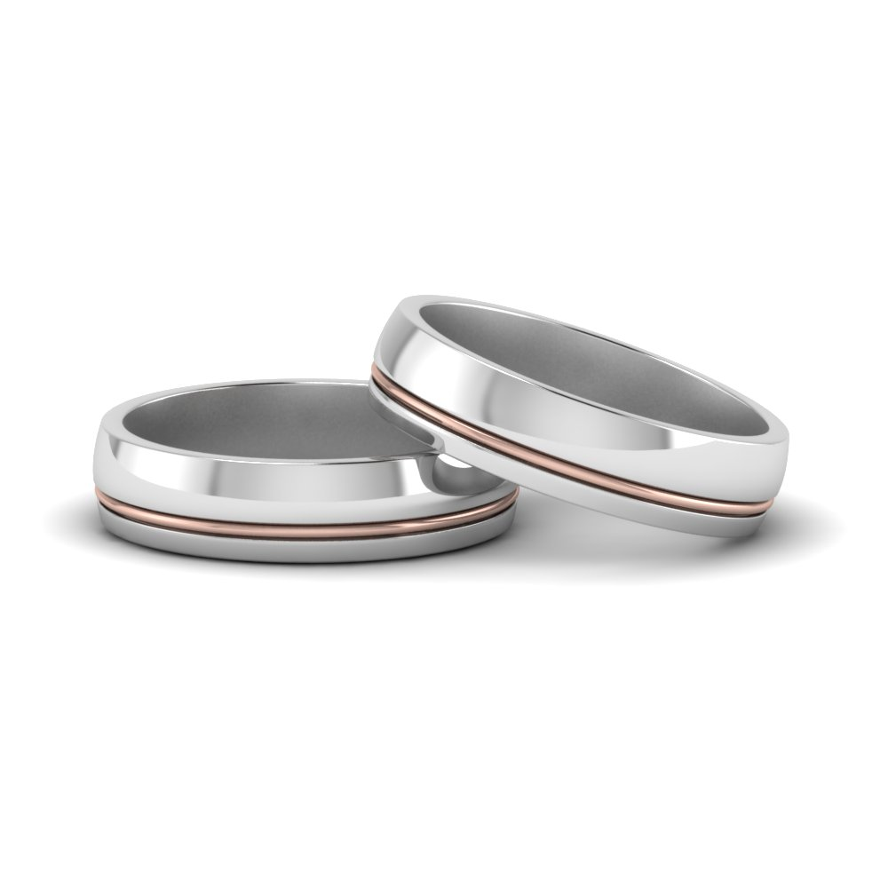 classic 2 tone gay wedding bands in 14K white gold FDLG51342G NL WG