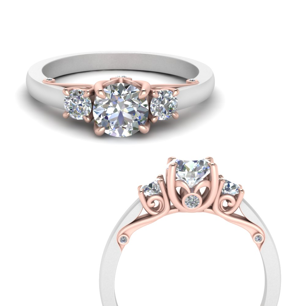 classic-2-tone-round-3-stone-lab diamond-engagement-ring-in-FD123398TRORANGLE3-NL-RG