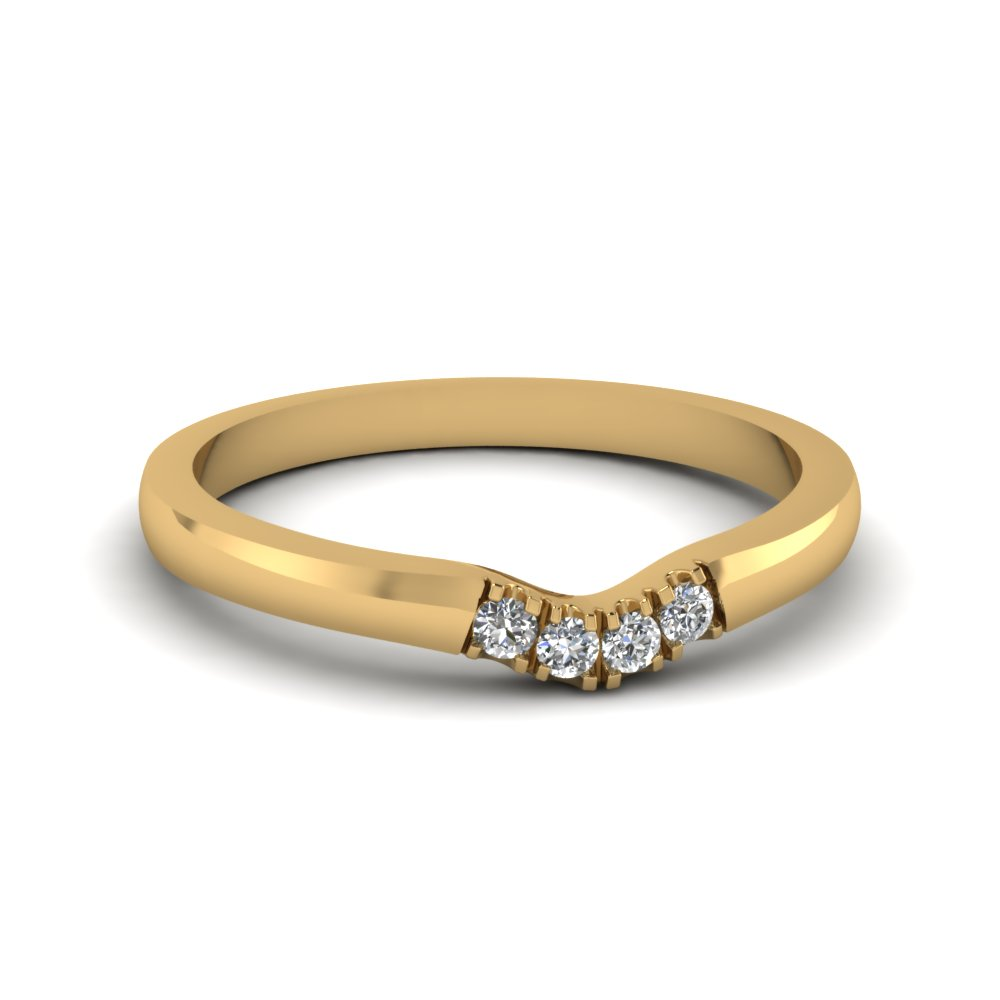 c4a406490 classic 4 diamond curved womens wedding band in 14K yellow gold FDENS1413B  NL YG