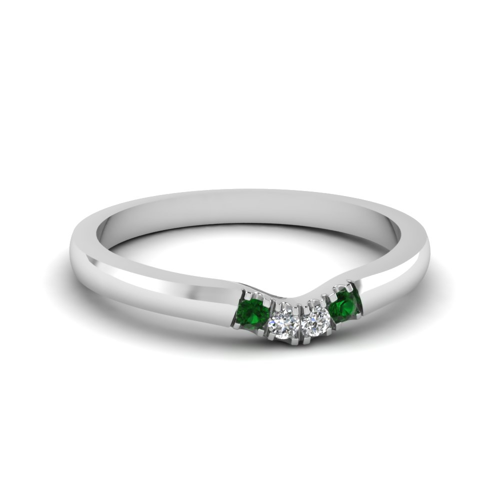Classic 4 Diamond Curved Womens Wedding Band With Emerald In 14k White Gold  Fdens1413bgemgr Nl Wg