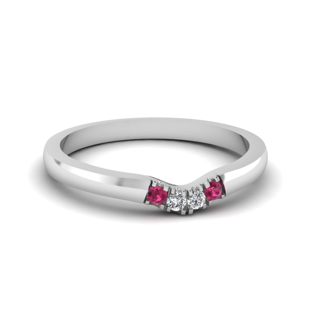 b2e4765f2 classic 4 diamond curved womens wedding band with pink sapphire in 14K  white gold FDENS1413BGSADRPI NL