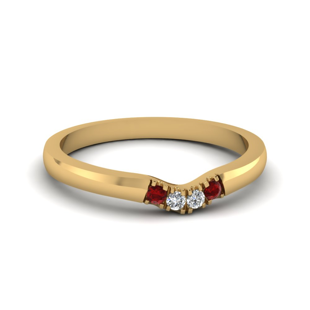 classic 4 diamond curved womens wedding band with ruby in 14K yellow gold FDENS1413BGRUDR NL YG