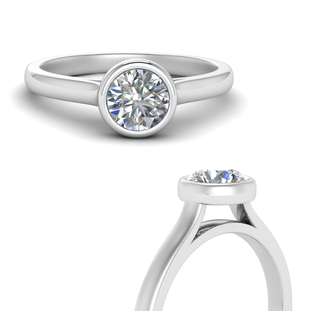 classic bezel 1 carat round solitaire engagement ring in 14K white gold FDENR9501RORANGLE3 NL WG