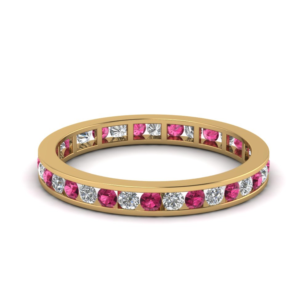 Channel Set Pink Sapphire Eternity Band