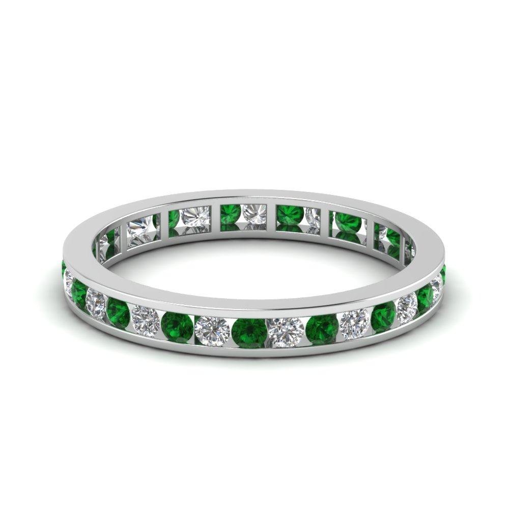 Channel Set Eternity Emerald Band