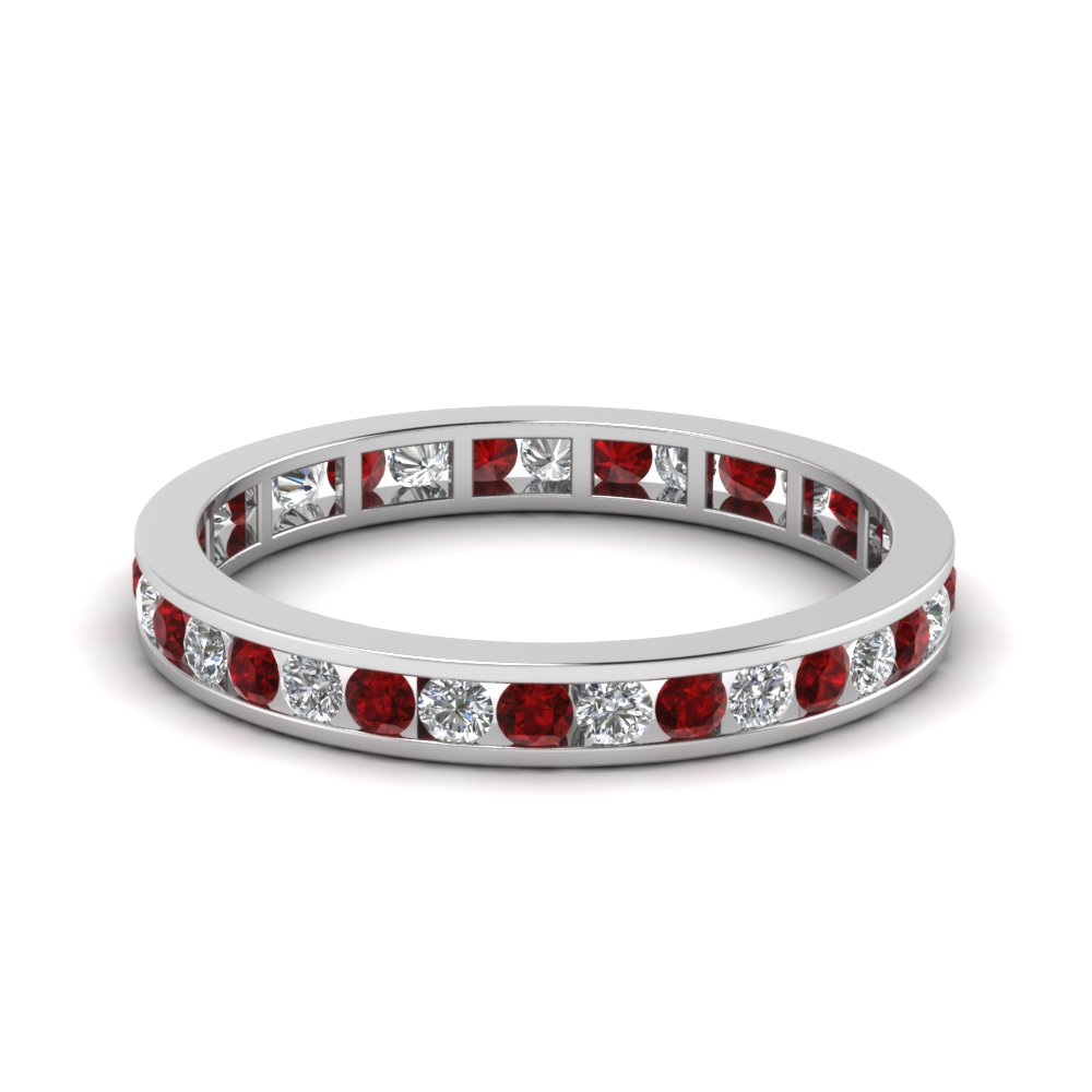 Eternity Ruby Diamond Wedding Band