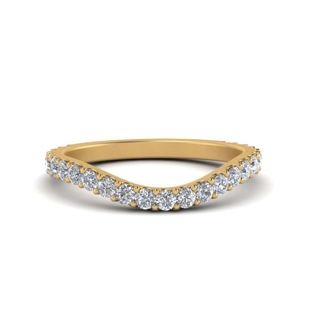 classic curve diamond wedding band in 14K yellow gold FDENS2320B NL YG
