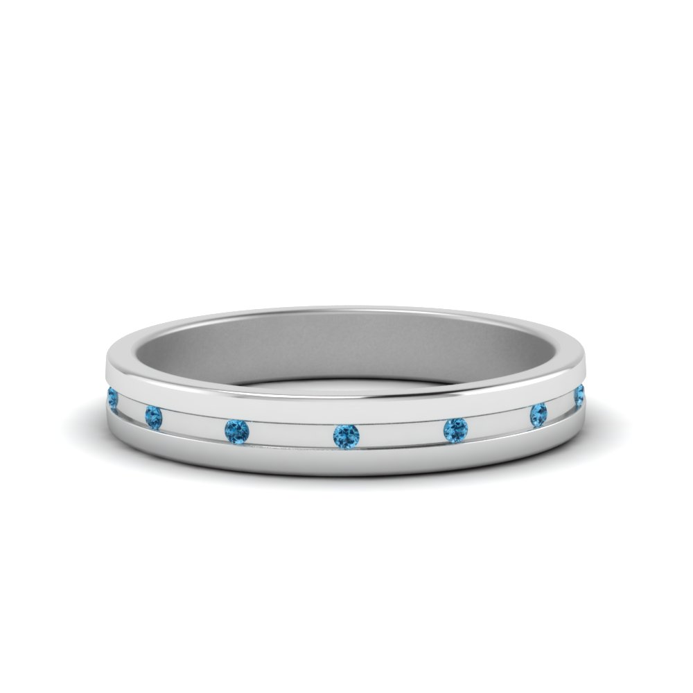classic wedding band with blue topaz flush mount in FD9182GBGICBLTO NL WG GS