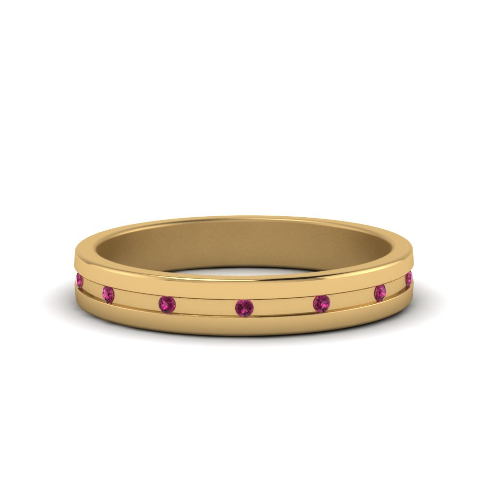 classic diamond band flush mount gemstone with pink sapphire in 14K yellow gold FD122267BGSADRPI NL YG GS