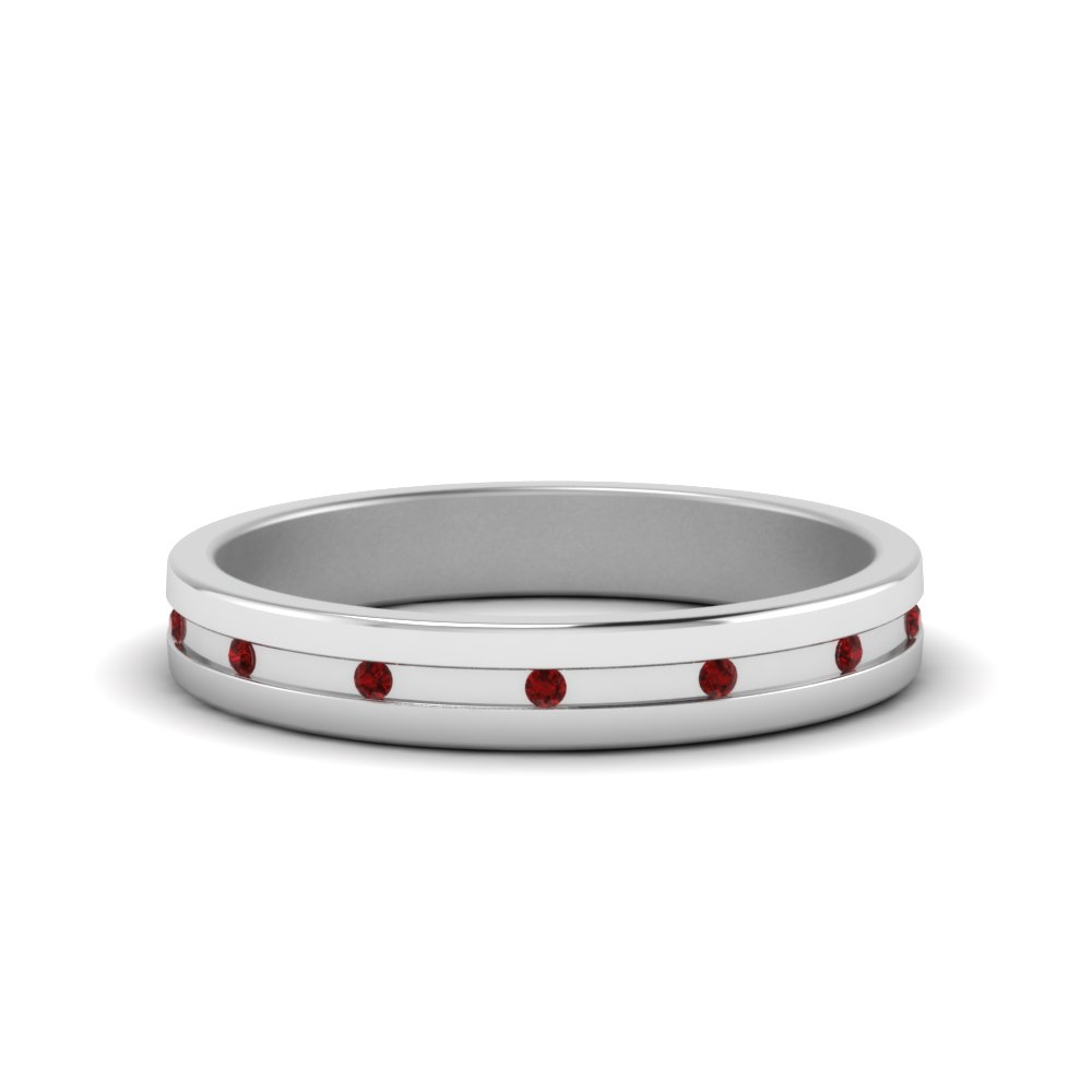 classic wedding band with ruby flush mount in FD122267BGRUDR NL WG GS