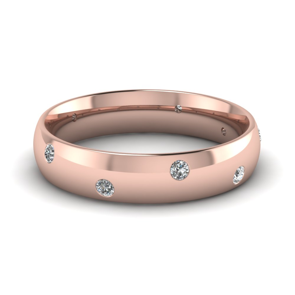Mens Wedding Rings With White Diamond In 14K Rose Gold