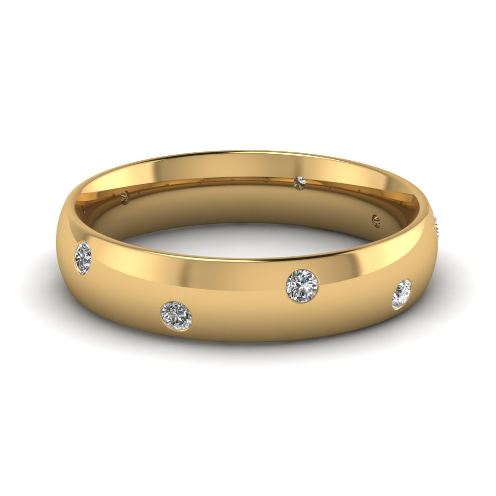 mens wedding rings with white diamond in 14k yellow gold - Gold Wedding Rings For Men