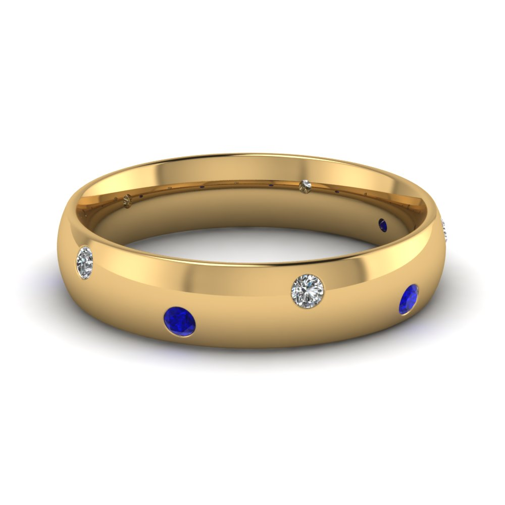 classic dome diamond comfort fit wedding ring for men with blue sapphire in 18K yellow gold FD1092BGSABL NL YG