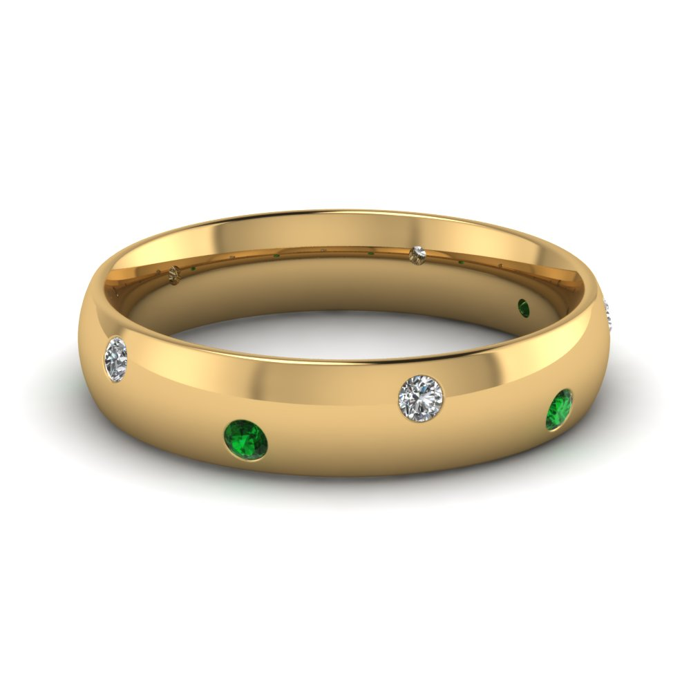 classic dome diamond comfort fit wedding ring for men with emerald in 14K yellow gold FD1092BGEMGR NL YG