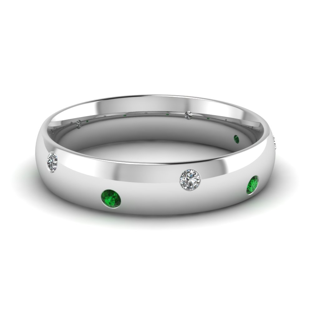 classic dome diamond comfort fit wedding ring for men with emerald in 950 Platinum FD1092BGEMGR NL WG