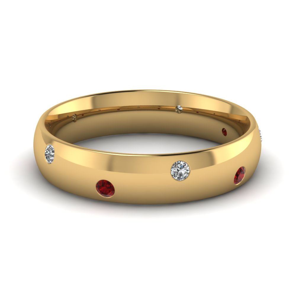 Classic Dome Diamond Comfort Fit Wedding Ring For Men With Ruby In