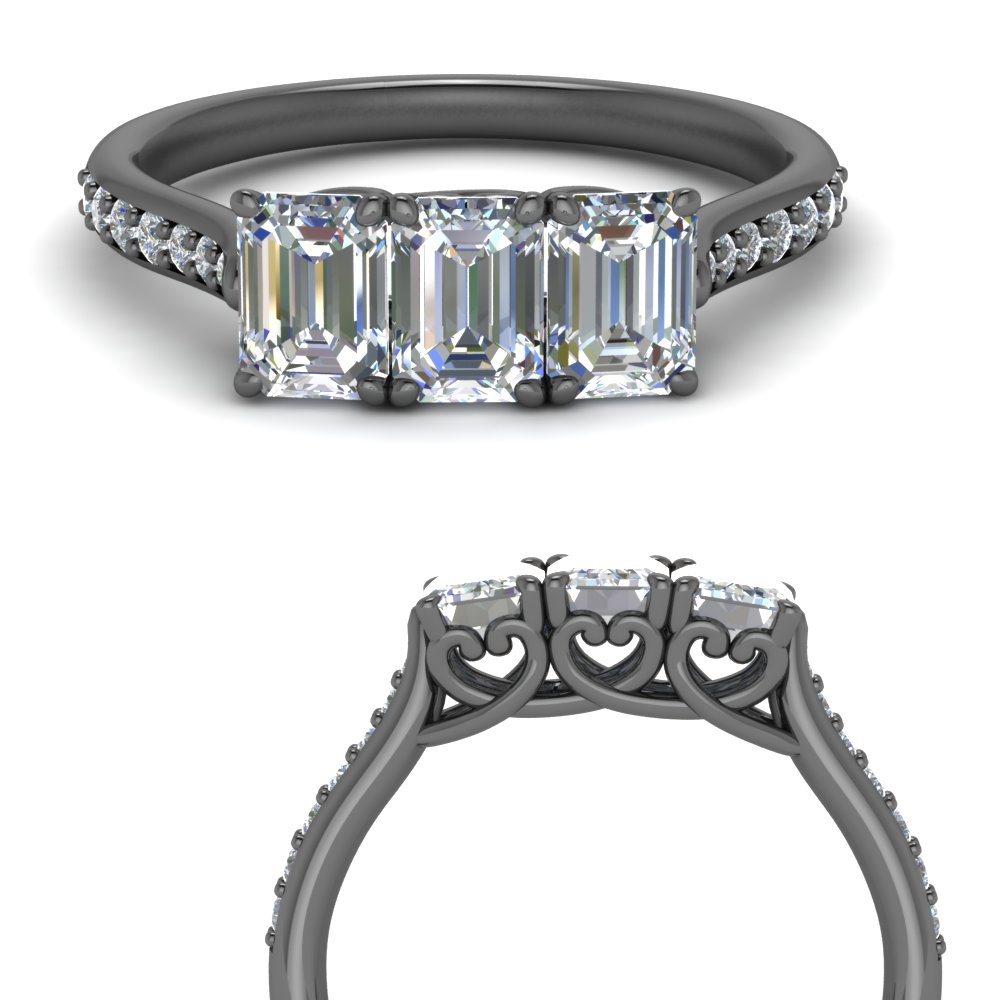 Emerald Cut Black Gold Anniversary Ring