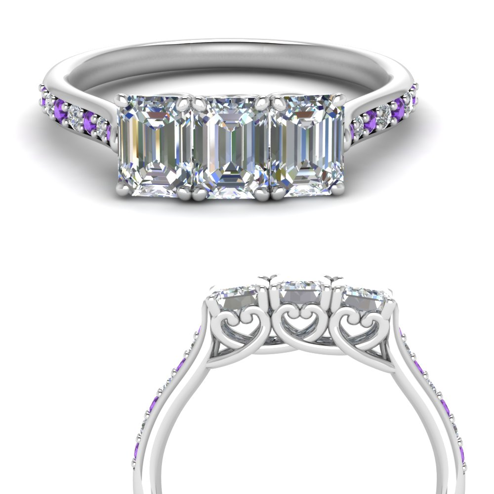 3 Stone Emerald Cut Ring With Purple Topaz
