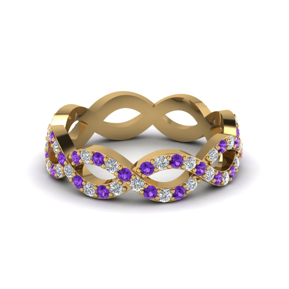 Infinity Eternity Band With Purple Topaz