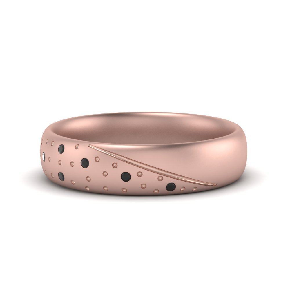 Classic Mens Wedding Ring With Black Diamond In 14K Rose Gold ...
