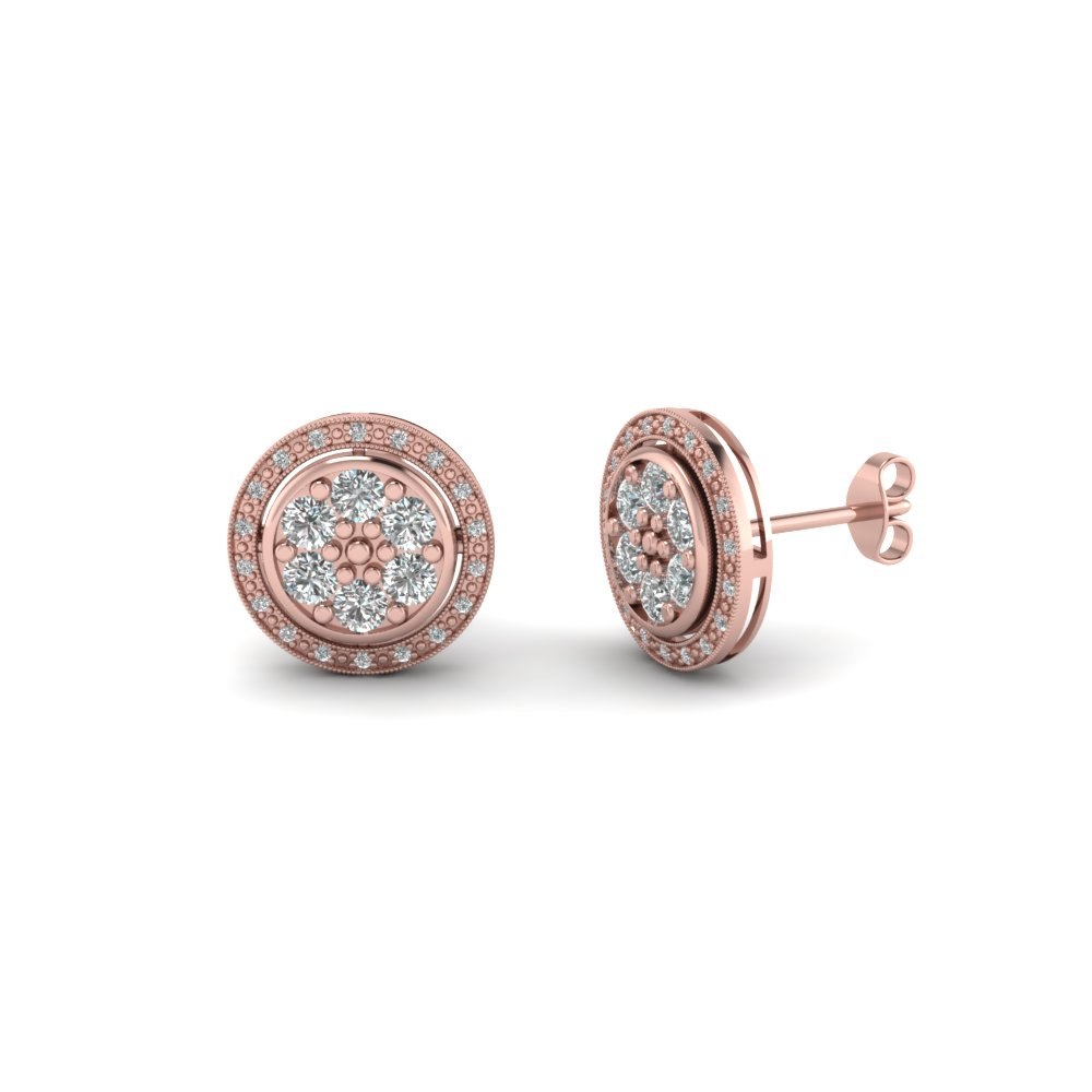 classic milgrain round diamond stud halo earring for women in 14K rose gold FDEAR1116 NL RG