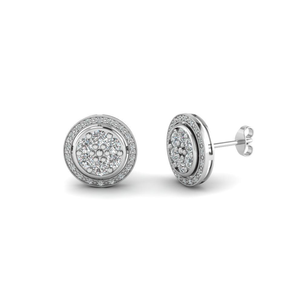 Round Cut Milgrain Halo Diamond Earrings