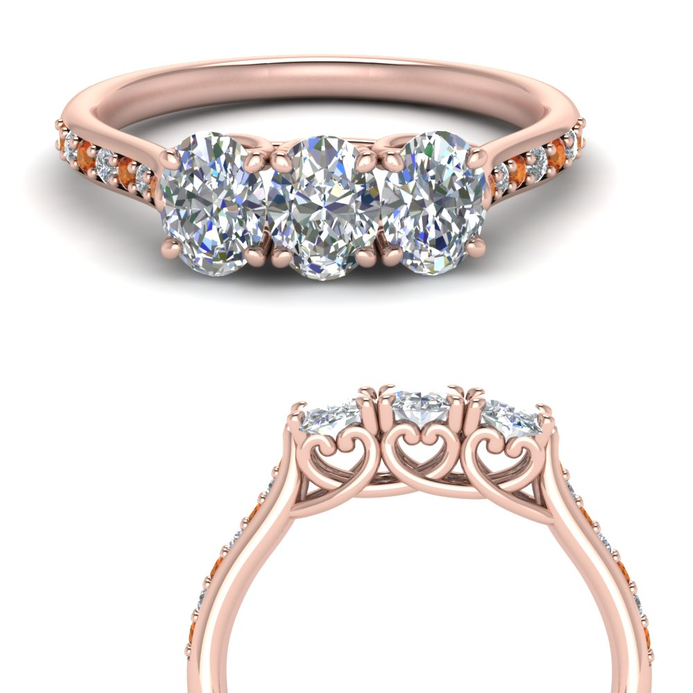classic prong oval diamond wedding band with orange sapphire in 14K rose gold FD123332OVGSAORANGLE3 NL RG