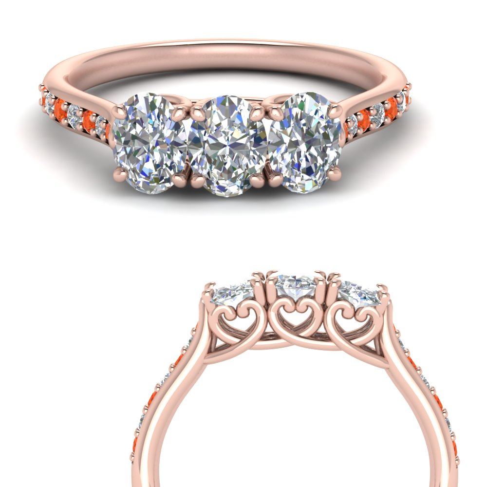 classic prong oval diamond wedding band with orange topaz in 14K rose gold FD123332OVGPOTOANGLE3 NL RG