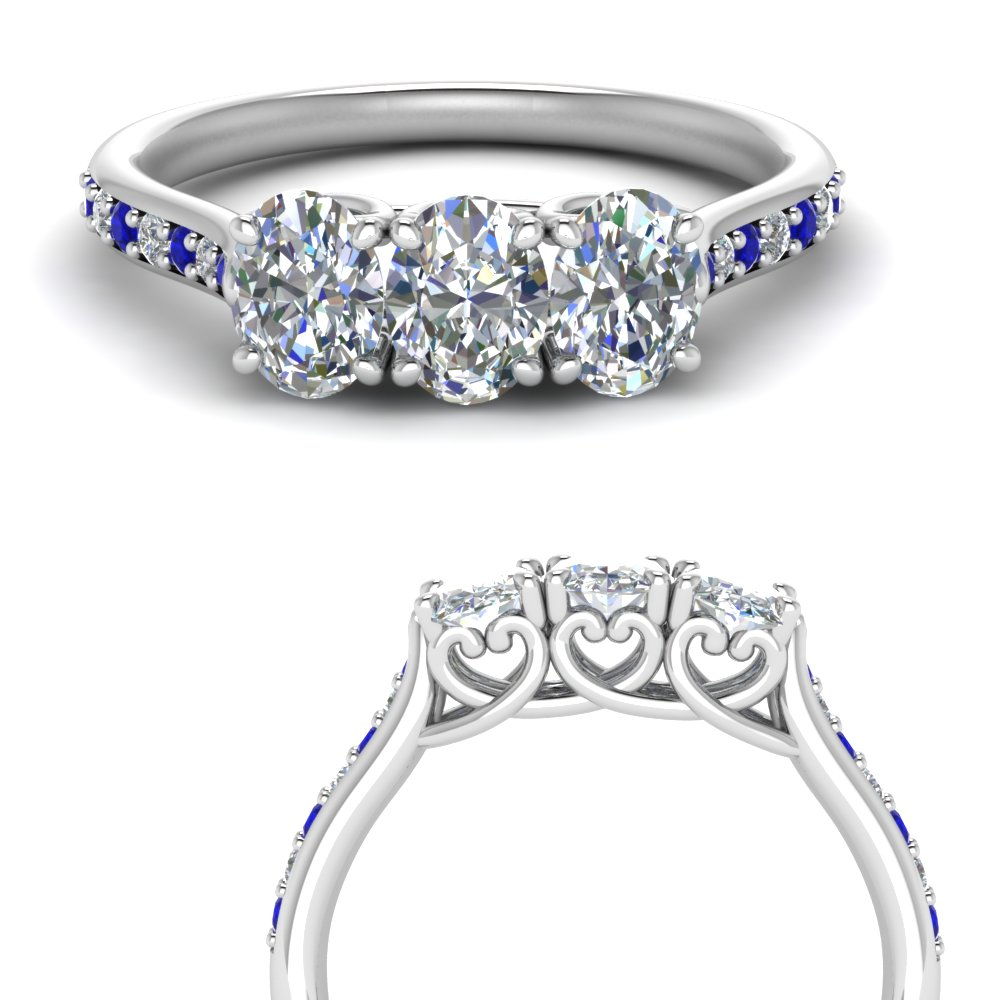 Oval Diamond Band With Sapphire