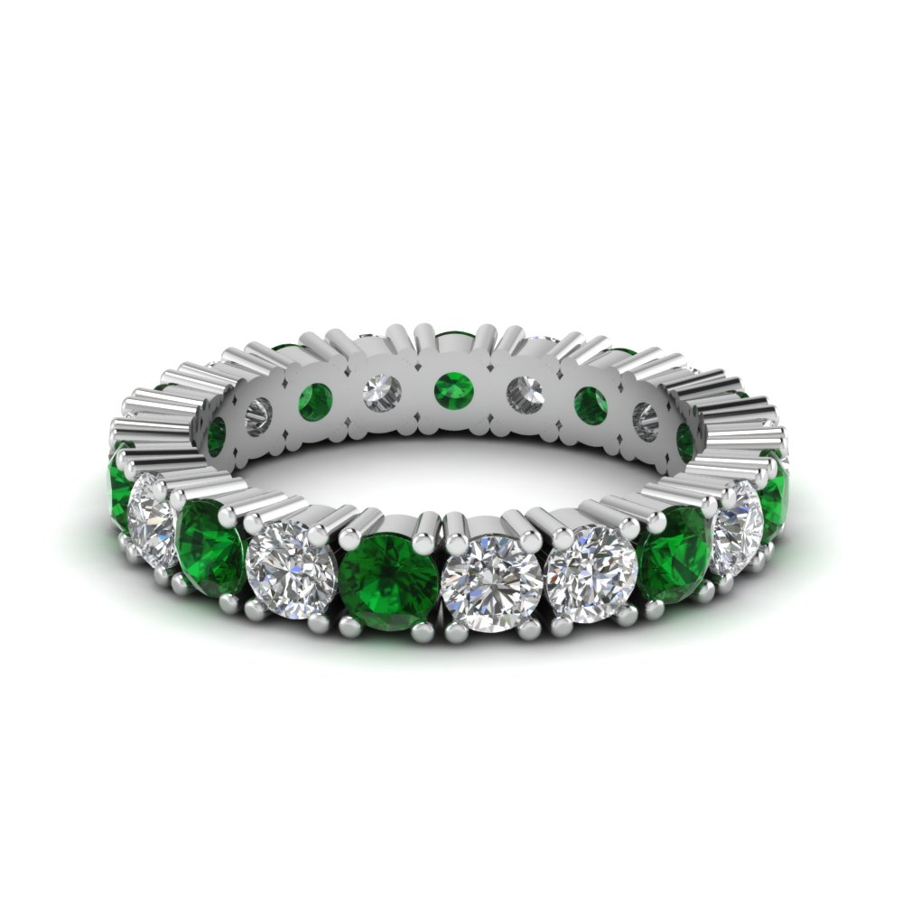 2 Carat Diamond Eternity Band With Emerald In Fdewb103bgemgr Nl Wg