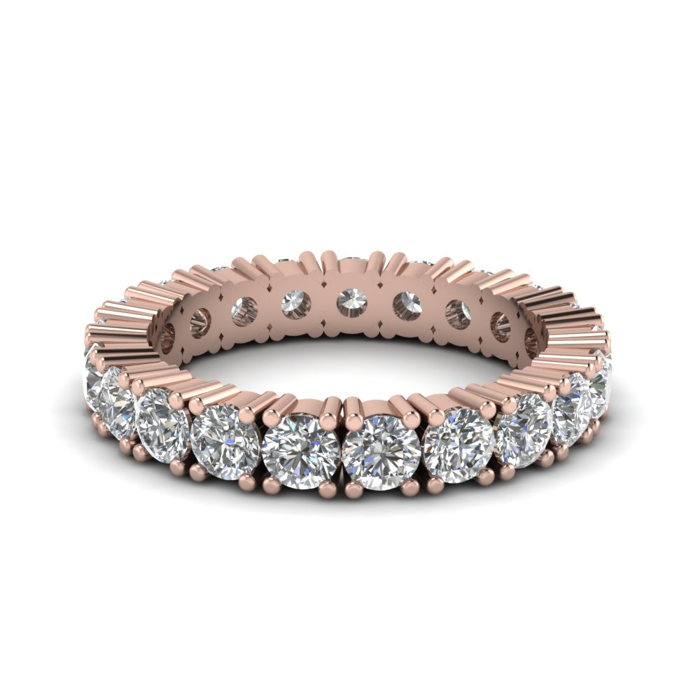 Classic Round Eternity Wedding Band With White Diamond In 14K Rose Gold