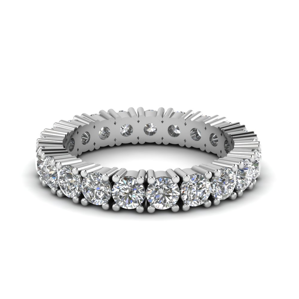 Classic Round Eternity Wedding Band With White Diamond In 14K White Gold