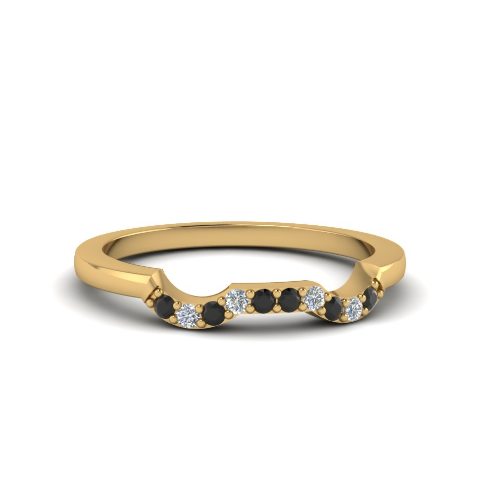 classic stone twist wedding band with black diamond in 14K yellow gold FDENS3082BGBLACK NL YG