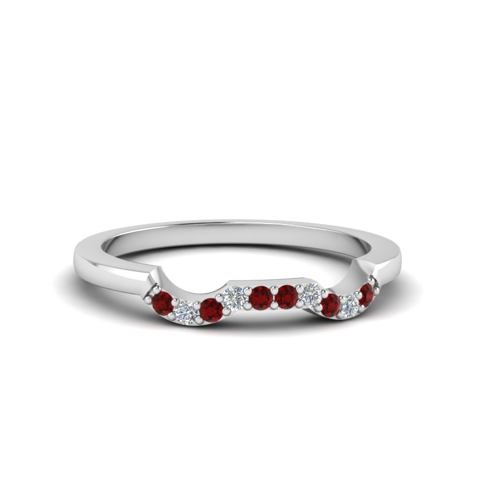 classic stone twist diamond wedding band with ruby in 14K white gold FDENS3082BGRUDR NL WG