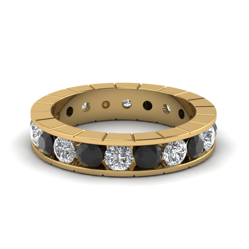 mwbygblketwb eternity row gold profile diamond wb roped mens three bands yellow pave in mwb black band