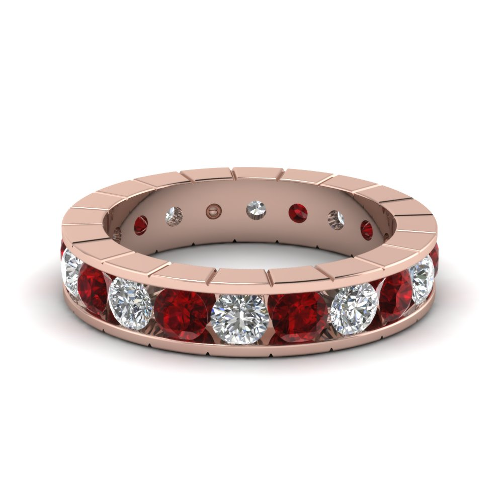 Accent Ruby Round Diamond Band