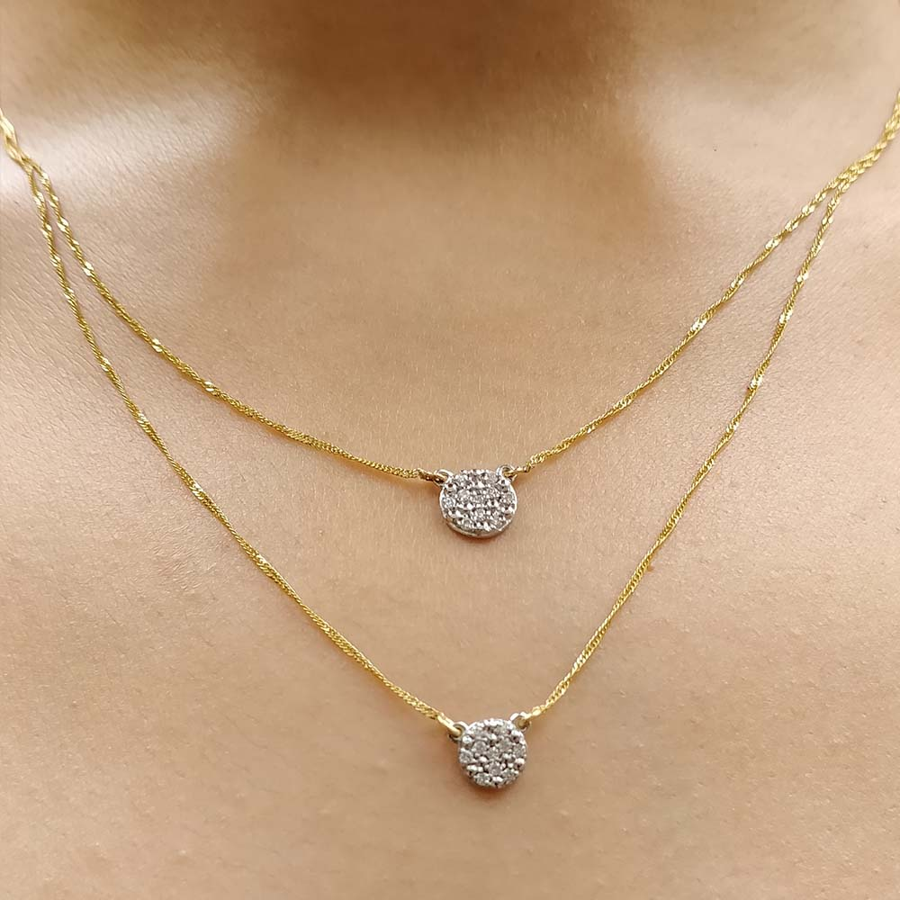 Cluster Diamond Double Chain Necklace