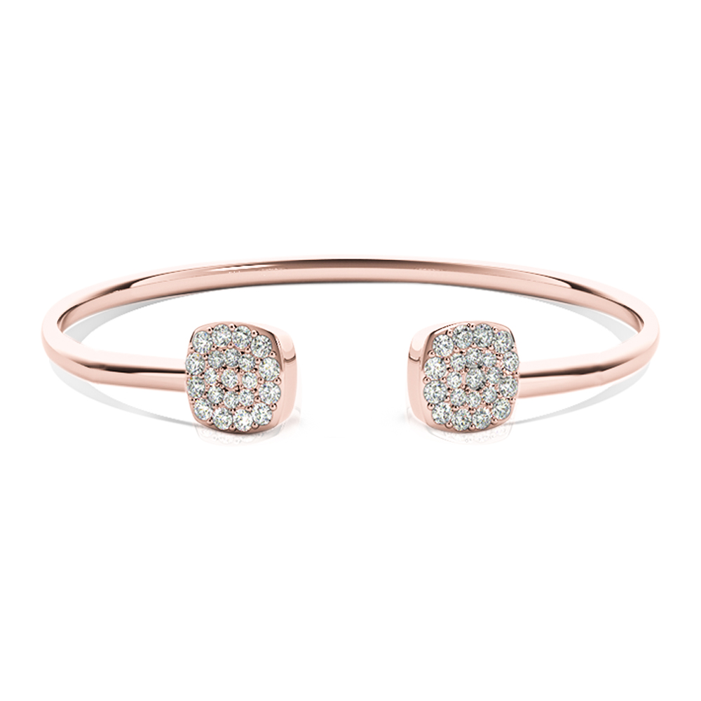 White Gold Open Bangle Bracelet With Diamonds