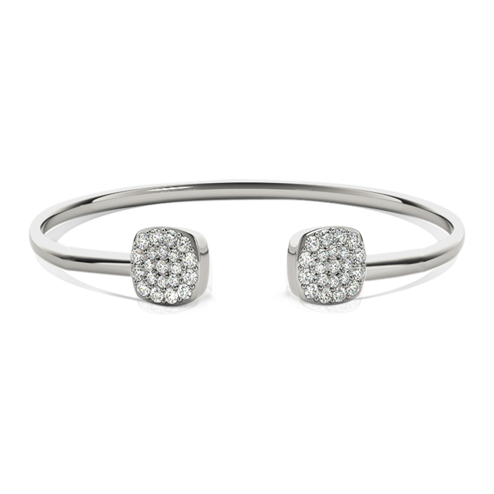 Square Diamond Open Bangle Bracelet