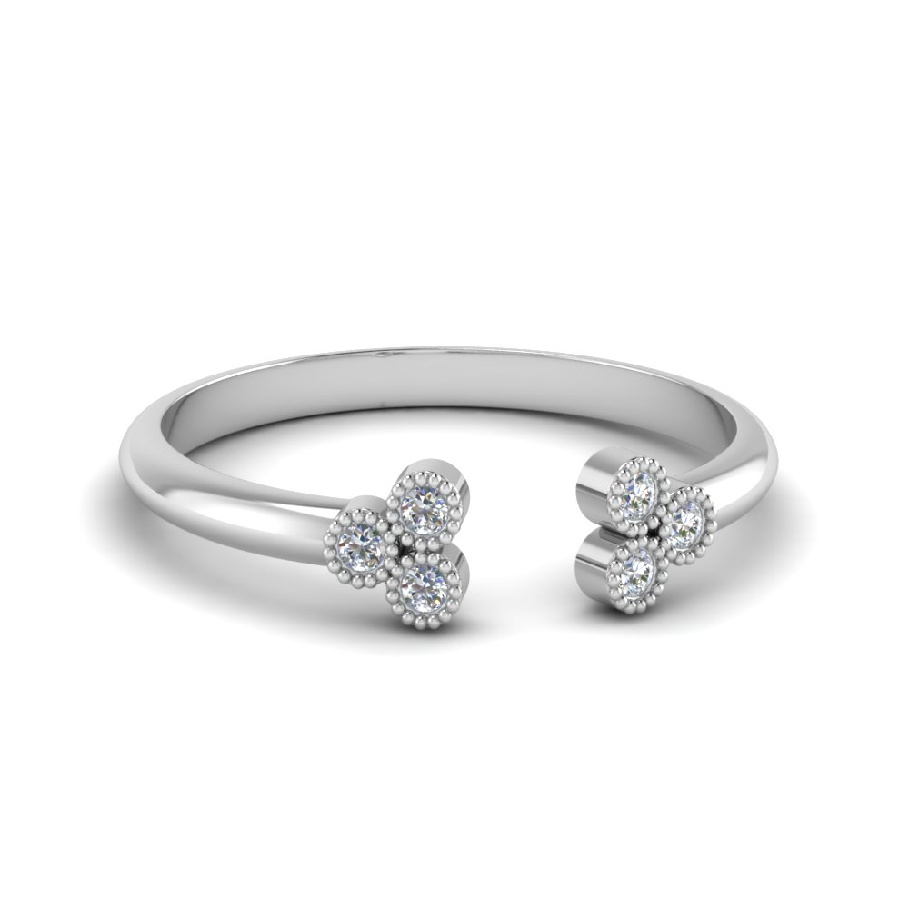 Cluster Diamond Open Cuff Ring In 14K White Gold