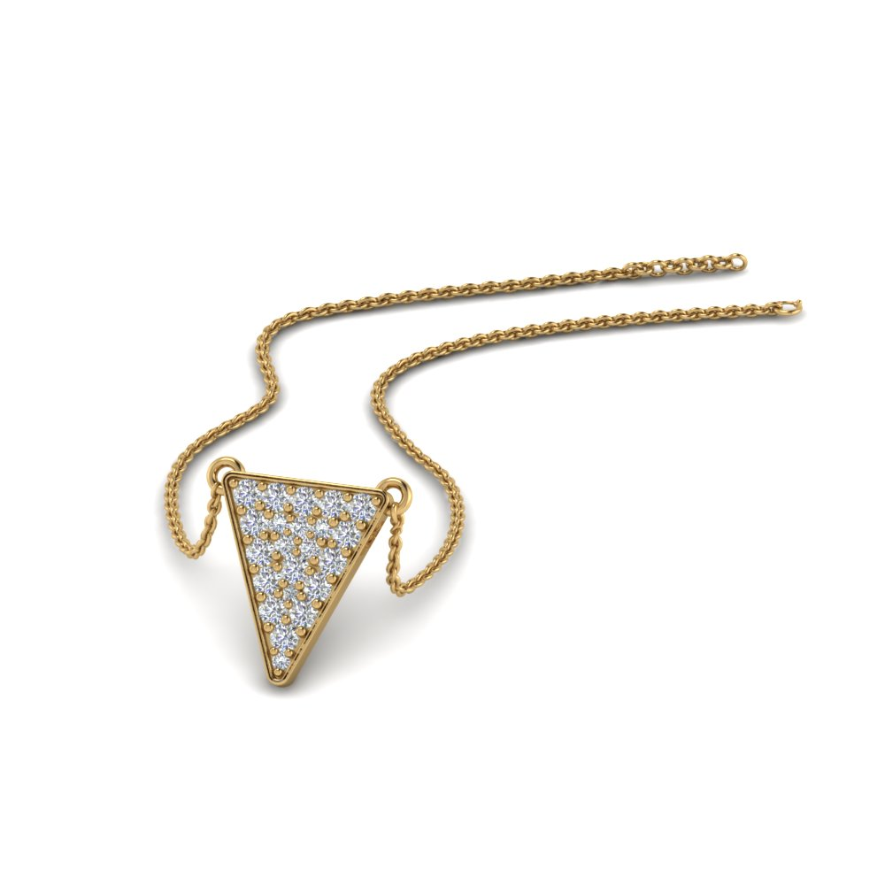 Cluster Diamond Triangle Pendant In 14K Yellow Gold