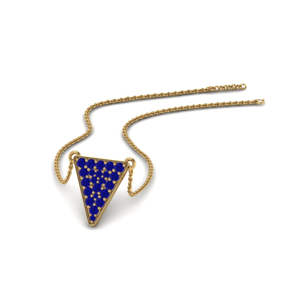 cluster triangle pendant with blue sapphire in 14K yellow gold FDPD86423GSABL NL YG