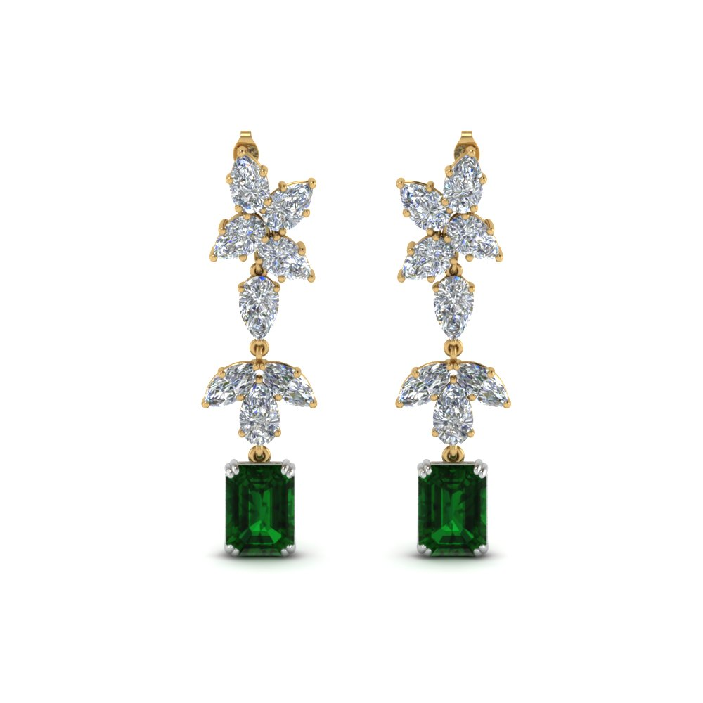 Emerald Cluster Pear Drop Earring