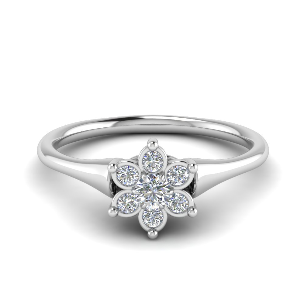 cluster flower diamond engagement ring in FD8608 NL WG