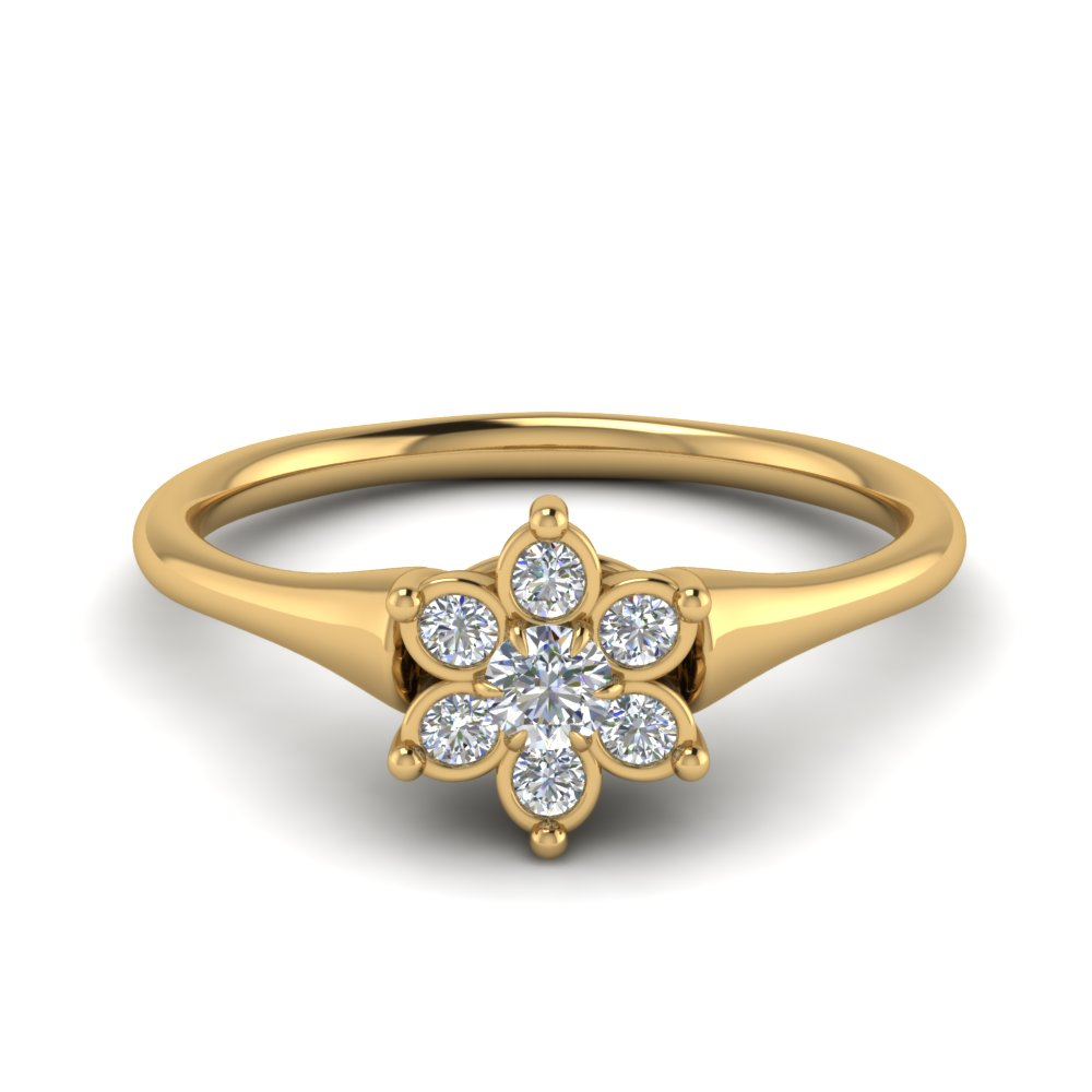 cluster flower diamond engagement ring in FD8608 NL YG