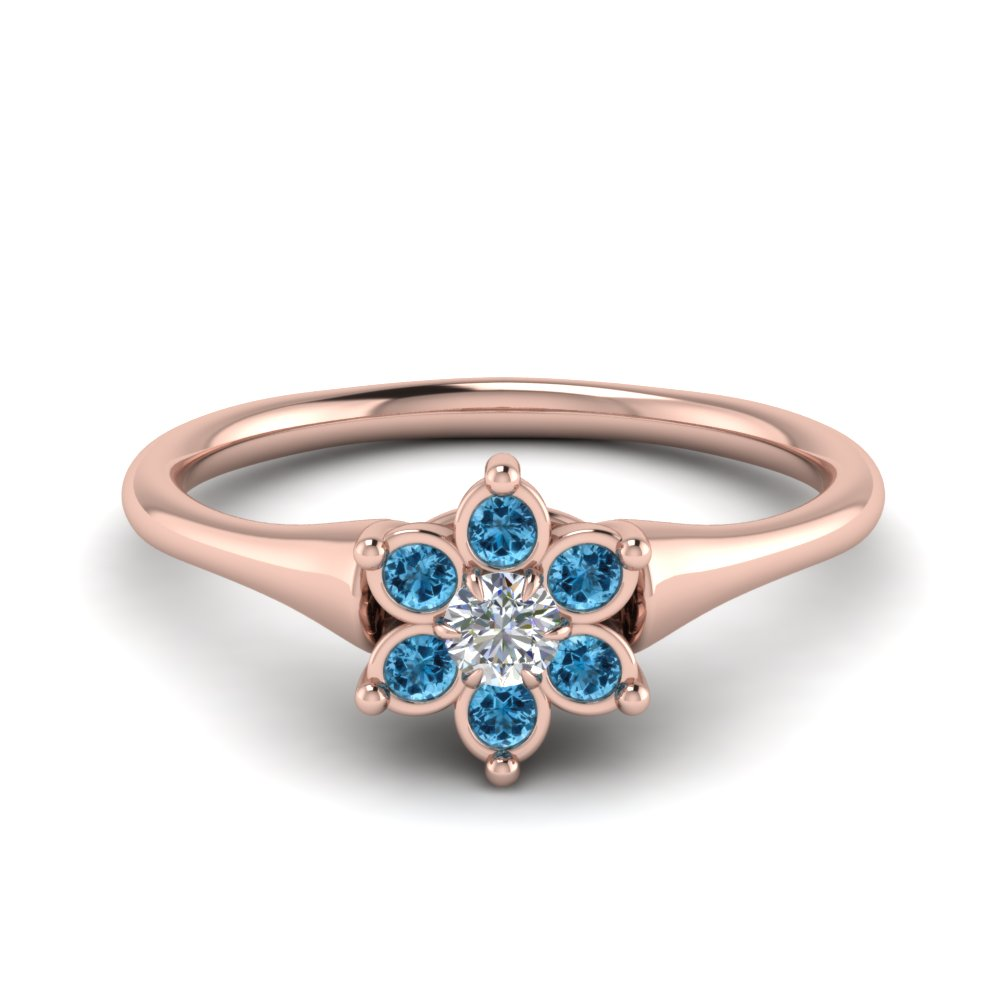 cluster flower diamond engagement ring with blue topaz in FD8608GICBLTO NL RG